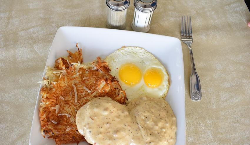 Combo #2 - 2 Eggs Any Style, Biscuits & Gravy With Home Fries
