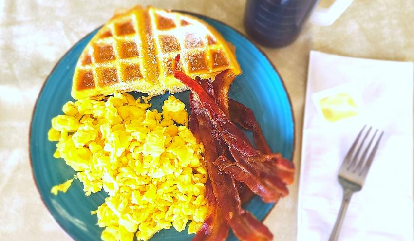 Combo #6 - 2 Eggs Any Style, Bacon or Sausage, 1/2 Waffle